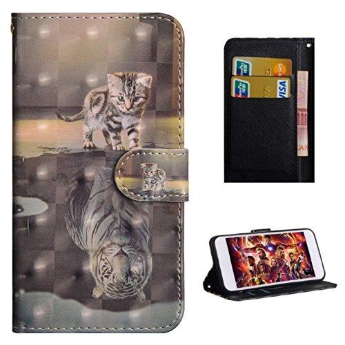 Für Lenovo K6 Note Hülle, Premium PU Leder Schutztasche Klappetui Brieftasche Handyhülle, Standfunktion Flip Wallet Case Cover - Katze Tiger