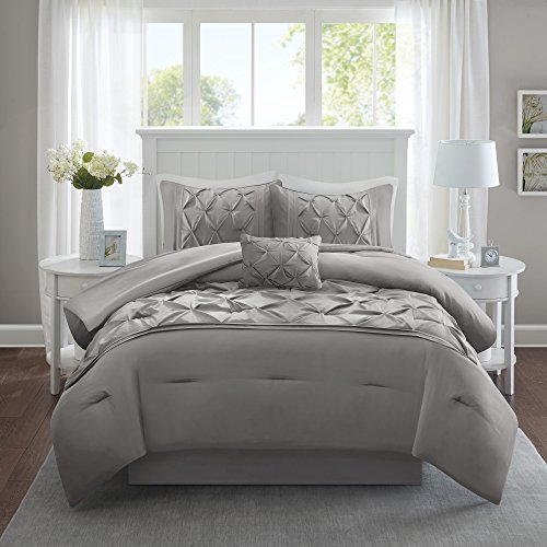Comfort Spaces Cavoy Faux Silk Comforter Set - Luxe Diamond Tufting All Season, Matching Bed Skirt,...