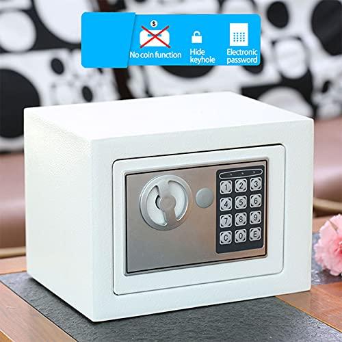 Caja de seguridad portátil Cofre de contraseña electrónica Hogar Hotel Cajas fuertes digitales Seguridad con llave electrónica Dinero Caja de seguridad Caja de seguridad Archivador confi(Color:blanco)