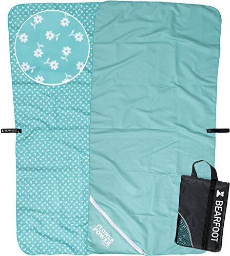 BEARFOOT Mikrofaser Handtuch Set mit Tasche | schnelltrocknende Handtücher - Microfaser Fitnesshandtuch, Sporthandtuch, Badetuch groß, XXL Strandhandtuch, Saunatuch, Reisehandtuch | Fitness, Sauna