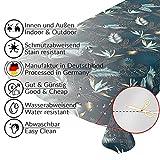 Wachstuchtischdecke abwaschbar Garten Tischdecke Wachstuch Rund Oval Eckig Indoor Outdoor Blätter Gold Blau 100x140cm - 2