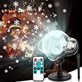 Christmas Projector Lights Outdoor, LED Snowfall Lights Xmas Snowflake Projector Lamp with Remote Control IP65 Waterproof for Christmas, Thanksgiving, New Year, Party, Garden, Patio, Yard Decoration