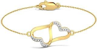 14K Yellow Gold 7.5 inches IJ| SI identification-bracelets Size 0.075 cttw Round-Cut-Diamond HallMarked