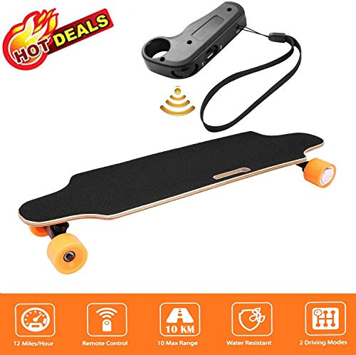 Aceshin Electric Skateboard with Remote Control for Adults Teens Youths 250W Motor 20KM/H Top Speed 10 KM Range Longboard 7 Layers Maple Waterproof IP54 E-Skateboard