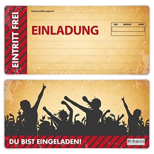 Einladungskarten Erwachsene jeder Anlass Geburtstag 12 Stück Karten - Vintage Ticket