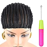 Christmas Gifts XCCOCO 1PCS Breathable Braided Crochet Cornrows Wig Caps for Making Synethic Wigs Durable Stable Black Easier Sew in Braiding Wigs Cap Medium Size