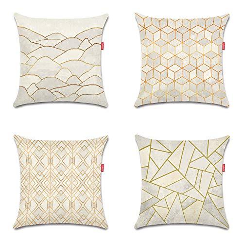 WEIANG Funda de cojín de doble cara geométrica rosa gris pintura funda funda de almohada para coche, hogar, sofá cama, 45 x 45 cm, 4 piezas