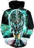 EUDOLAH Sudadera con Capucha para Hombre con Estampado 3D Animal y Galaxia de Colores (Verde Lobo,L-XL)