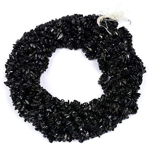 Shree_Narayani Cuentas sueltas de turmalina negra de calidad AAA, para hacer joyas, collares, pulseras, pendientes, manualidades, 1 hebr