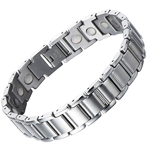 Review Of COOLSTEELANDBEYOND Stainless Steel Mens Magnetic Link Bracelet 8.5 Inches with Free Link R...