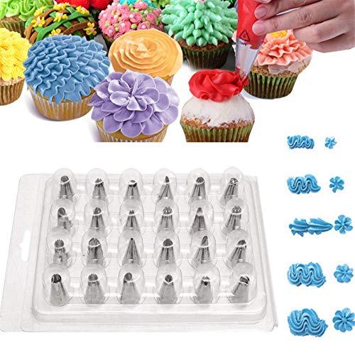 Belleashy - Boquillas de glaseado con 24 puntas de boquilla de glaseado para tartas, azúcar, decoración de repostería, kit de herramientas de horneado para decoración de tartas
