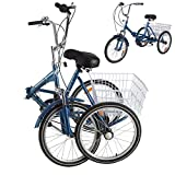 DoCred Adult Folding Tricycles, 7 Speed Folding Adult Trikes, 20 Inch 3 Wheel Bikes with Low Step-Through, Large Basket, Foldable Tricycle for Adults, Women, Men, Seniors