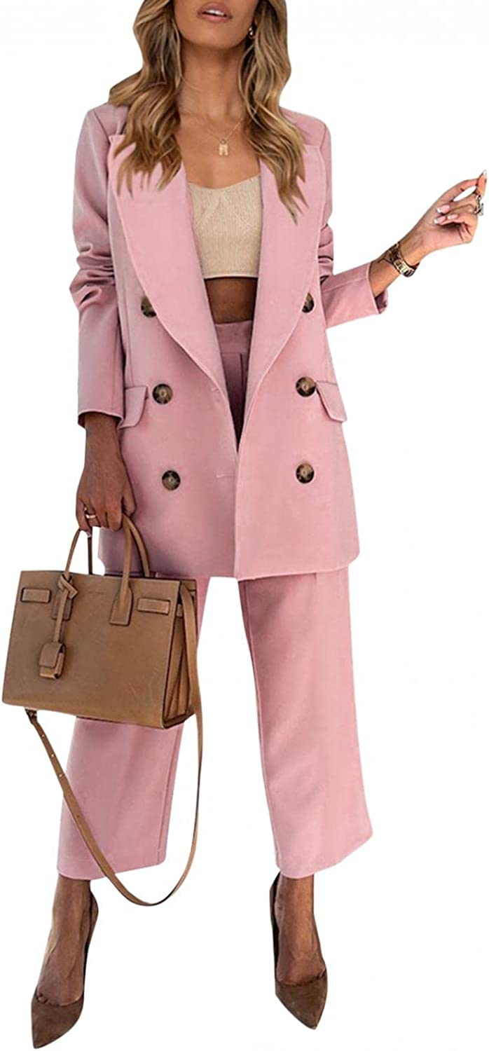 VEKDONE Women Office Work Suit Set 2 Piece Outfits Double-Breasted Notched Collar Open Front Blazer and Straight Leg Pants