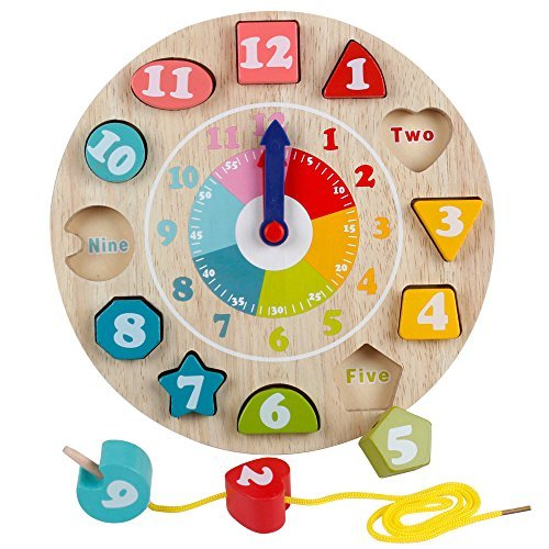 YIRAN Wooden Shape Sorting Teaching Clocks Educational Lacing Beads Toys for Preschool Age Kids Toddlers