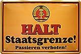 Tin Sign Blechschild 20x30 cm Halt Staatsgrenze DDR Ostalagie Grenzschild Deko Haus + Garten Bar Kneipe