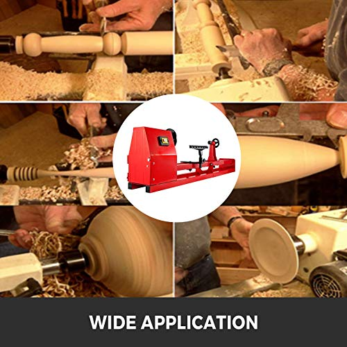 VEVOR Wood Lathe, 14 x 40 inch Wood Turning Lathes 1/2HP 370W Benchntop Wood Lathe, 4-Speed 1100/1600/2300/3400RPM Woodturning Lathe Machine for High Speed Sanding and Polishing of Finished Work