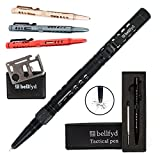 BellFyd Tactical EDC Pen with Glass Breaker - Metal Personal Protection Multitool Pack - New Gifts For Outdoors Travelers Guys - Rugged Survival Pens Black For Men Multi Tool Set with Ball Point Pens