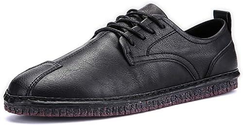 LYZGF Hommes Jeunes Printemps Eté Rétro Décontracté Mode Lace Up Up Up Chaussures en Cuir 443