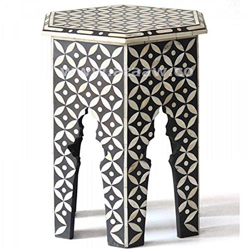 Noir géométrique OS Inlay Accent Table faite main en os de chameau Designs