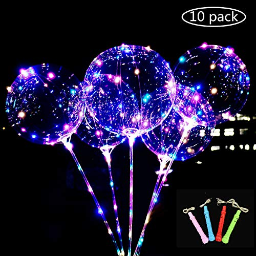 Big Save! LED Light Up BoBo Balloons Colorful 10 Packs,3 Levels Flashing Handle,20 Inches Bubble Bal...