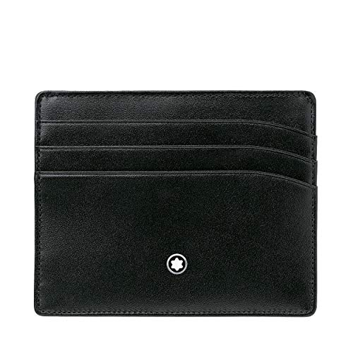 Piel de becerro negro Interior en Jacquard Emblema de Montblanc en paladio Capacidad para 6 tarjetas Bolsillo principal para billetes