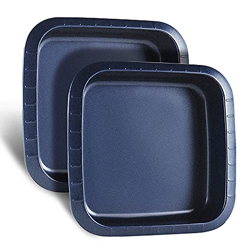 HONGBAKE Square Cake Pan Set of Two, 8x8 inch Baking Pan Nonstick with Scales For Brownies, Bread, Manicotti & Lasagna - Blue