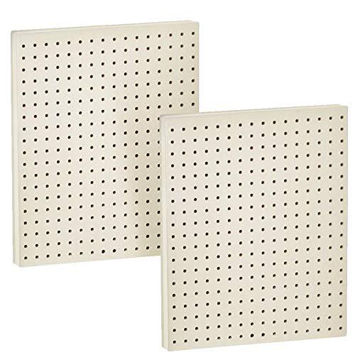 "Azar Displays 771620-WHT Plastic Pegboard for Wall Organization - Garage Tool Organizer Wall Mount (Pack of 2) - 1-Sided Durable Wall Panel Organizer (16"" W x 20"" H x 1"" D) - Garage Organizer (White)"