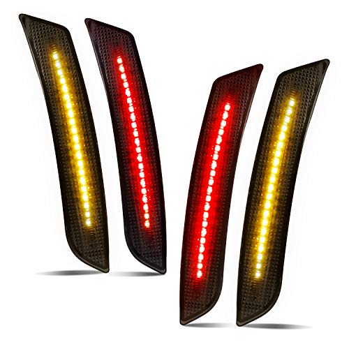 Smoked LED Side Marker Lights Front Rear Bumper Sidemarker Reflectors Compatible with 2016 to 2018 Camaro Red Amber - Pack of 4