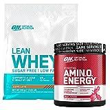 Optimum Nutrition Lean Whey Proteine del Siero del Latte Caffè Latte 740g 32 Porzioni + Amino Energy Pre-Workout in Polvere con Beta Alanina Frutta Mista 270g 30 Porzioni