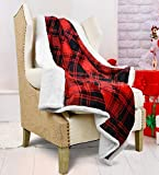 Catalonia Plaid Sherpa Throw Blanket,Reversible Super Soft Warm Comfy Fuzzy Snuggle Micro Fleece Plush Throws for Bedding Couch TV 150 x 130 cm Buffalo Check