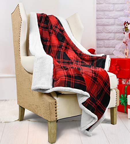 Catalonia Classy Manta de sherpa a cuadros rojos, reversible, gruesa, suave, cálida, cómoda, cómoda, de forro polar, para sofá de cama individual, 150 x 130 cm, diseño de búfalo a cuadros