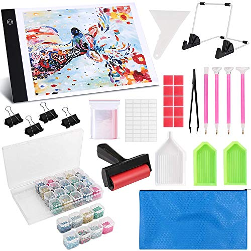 Diamond Painting A4 LED Light Pad Kit, LED Artcraft Tracing Light Table, Tools and Accessories Kit for Full Drill & Partial Drill 5D Diamond Painting