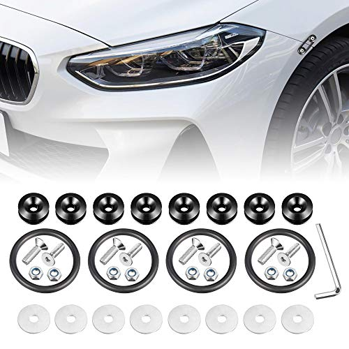 Enmoo 8Pcs Car Front Rear Bumper Quick Release Fasteners Washers Universal Aluminum Fasteners Washers Bolts Kit for Car Bumpers Trunk Fender Hatch Lids (Black)
