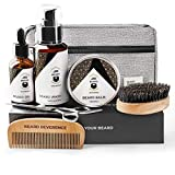 BEARD REVERENCE Premium Beard Grooming Kit for Men Care w/ Upgraded Travel Bag – All-Natural Beard Oil, Beard Balm Butter Wax, Beard Wash, Scissors, Comb, Boar Bristle Brush with Gift Set Box