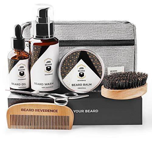 BEARD REVERENCE Premium Beard Grooming Kit for Men Care w/Upgraded Travel Bag - All-Natural Beard Oil, Beard Balm Butter Wax, Beard Wash, Scissors, Comb, Boar Bristle Brush with Gift Set Box