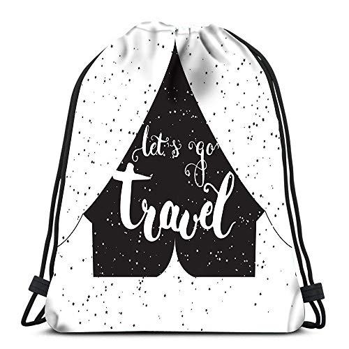 Valender Sac à Dos avec Cordon de Serrage Let Go Travel The Black Tent Daypack Sacs à Chaussures