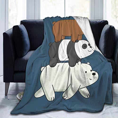Manta de Franela Tela de Cepillo Extra Suave Súper cálida Mantas para sofás acogedora y Ligera Somos Osos desnudos50 x40,W127cm X L102cm