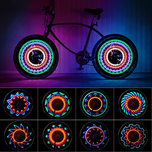 Eyscoco LED Fahrrad Rad Lichter,Speichenlichter Fahrrad mit 32 Led Fahrrad Radlichter für Kinder Erwachsene,wasserdichte Beleuchten Fahrradfelgenlichter für Nachtfahrten auf MTB-Rädern