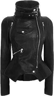 DISSA P808 Women Faux Leather Biker Jacket Slim Coat Leather Jacket