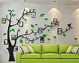 Árbol Pegatinas de Pared - 3D Árbol Familia Marco de Fotos DIY Murales Stickers Decoración para Salón, Dormitorio, Oficina, Habitación(Verde Derecha,M:150*210CM)