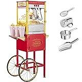 XUANY Retro Popcorn Machine w/Cart & Wheels, 8 Ounce Kettle, 850W Vintage Style Popcorn Maker Cart w/Double Door, Stainless Steel Popcorn Scoop, Tablespoon & 3 Popcorn Cups (Red)