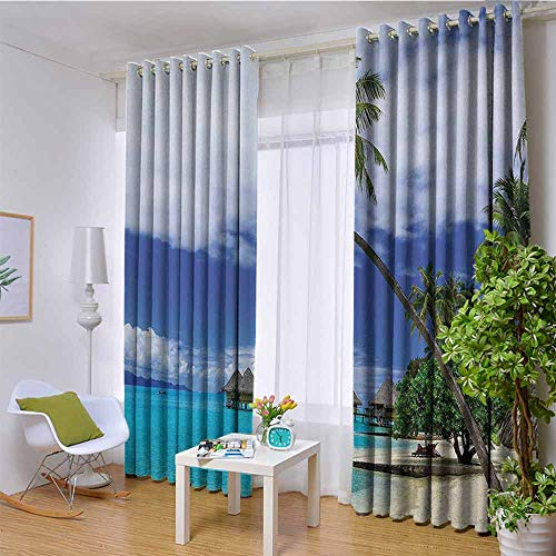 hengshu Tropical Decor Shading Insulated Curtain Over-Water Bungalows of Tropical Resort Bora Bora Island Pacific Ocean Panorama for Living Room or Bedroom W108 x L96 Inch Green Blue White