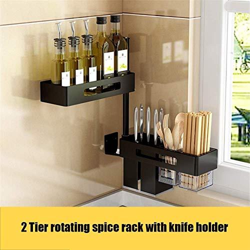 Nfudishpu Gewürzregal, DIY Wandregale Küche Lagerregal Raum Aluminium Flaschenhalter Corner Organizer Ständer für Bad, Küche, B