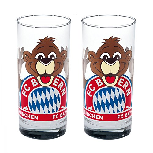 FC Bayern München Berni Glas 2er-Set Trinkglas FCB - Plus Lesezeichen I Love München