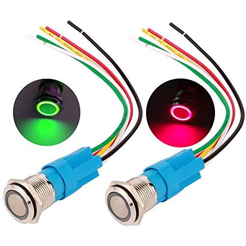 Gebildet 2pcs 16mm Momentáneo Pulsador de Botón Acero Inoxidable, Impermeable ON/Off 12V-24V 5A LED 1NO1NC SPDT Temporal Botón con Enchufe de Cable(LED Rojo + Verde)