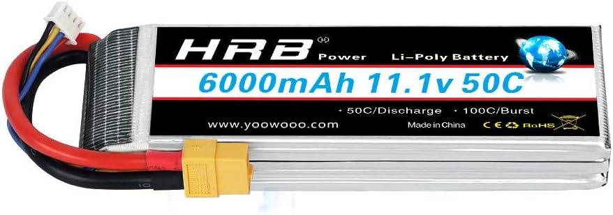 HRB 3S 11.1V 6000mAh 50C RC LiPo batería con XT60 Plug para RC helicóptero RC Avión RC Hobby (XT60 Plug)