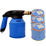 TronicXL Premium Hand Lötbrenner für 190g Stechgaskartuschen + 3 Stück Gas Kartuschen - Lötlampe Butangas Gasbrenner mit Piezozündung löten brennen