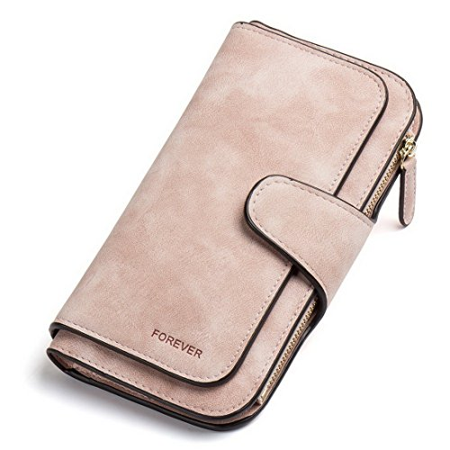 RFID Blocking Large Capacity Bifold PU Leather Phone Card Holder Organizer Snap Wallet with Zipper Pocket for Women