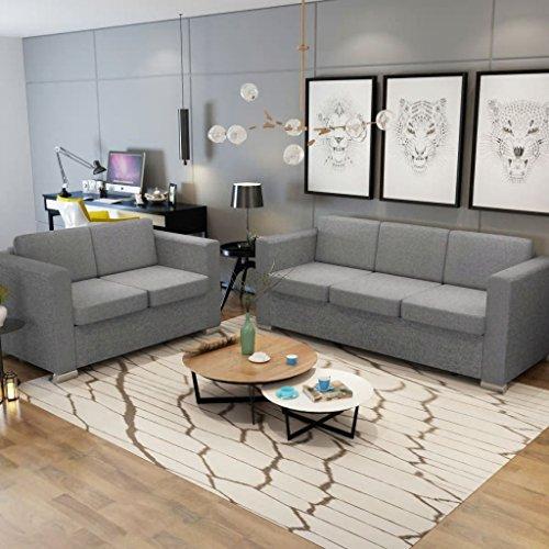 Vislone Sofás Salon Conjunto de Sofás 2 uds Incluye 1 Sofá de 2 Plazas y 1 Sofá de 3 Plazas con Estructura de Madera...