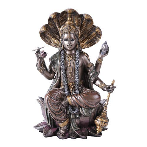 Pacific Giftware Eastern Hindu God Vishnu Decorative Statue Narayana The Preserver and Protector Figurine Panchayatana Puja Supreme Deity Enlightenment